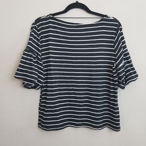 Cable and Gauge Ruffle Sleeve Top